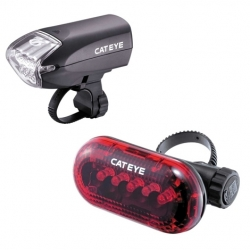 Cateye HL-EL220 front and Omni 5 rear light set