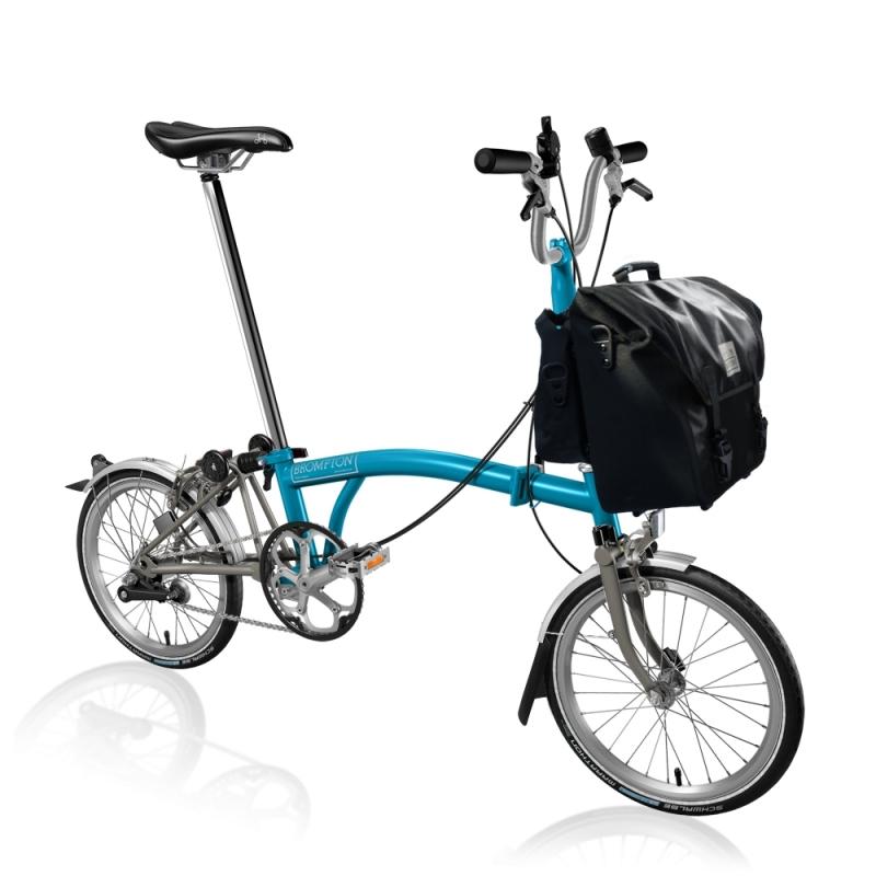 Brompton bike Titanium Lagoon blue M3L with Black O bag