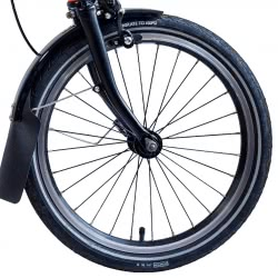 Brompton BLACK 16 inch front wheel with black spokes and hub