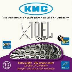 KMC X10EL Silver 10-speed MTB/road bike chain