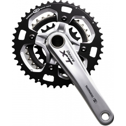 Shimano 9-speed XT chainset HollowTech II 42/32/22T 175 mm, silver/black