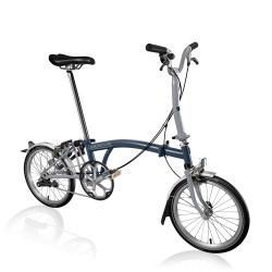 Brompton 2017 M3L Tempest Blue / Grey folding bike