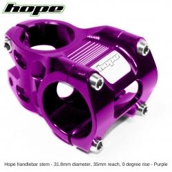 Hope A/M Stem 0 degree 35mm 31.8mm diameter - Purple