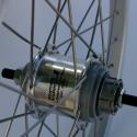 Brompton 3 speed rear wheel with wide range Sturmey Archer hub