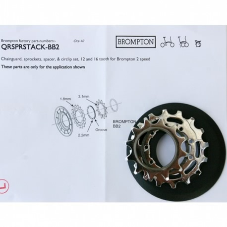 Brompton sprocket / disc set 12/16T for 2 speed rear wheel