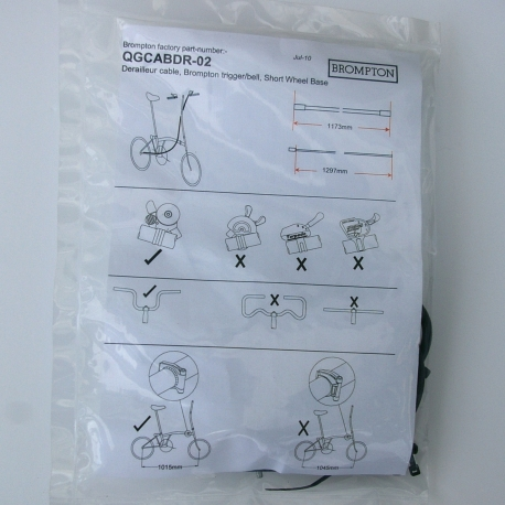 Brompton derailleur gear cable only, short wheel base, excluding dog leg section