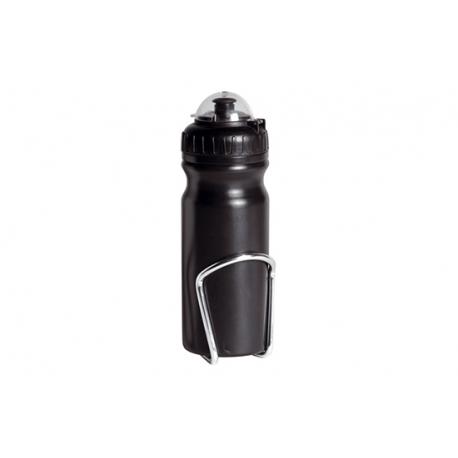 Black bottle cage and bottle