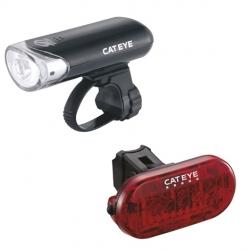 Cateye HL-EL135 front and Omni 5 rear light set