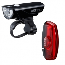 Cateye VOLT 100 front and RAPID X rear light set - rechargeable
