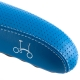 Brompton standard rail saddle - Blue, showing stitched logo
