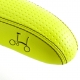 Brompton standard rail saddle - Lime Green, showing logo