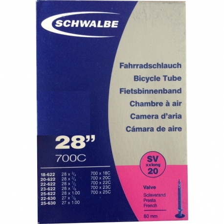 Inner tube 28 x 3/4 to 28 x 1 inch by Schwalbe - SV20 XXL presta valve