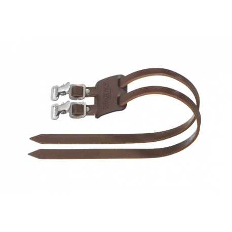 Brown leather toe straps from Brooks England