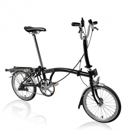 Brompton M3R Black with mudguards, rack and front carrier block