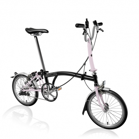 Brompton M3L Black / Cherry Blossom with mudguards