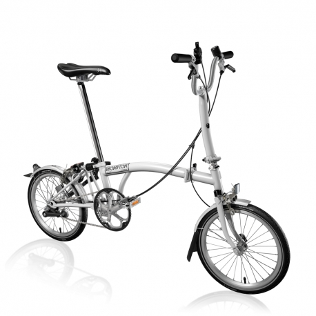 Brompton M3L White 3 speed folding bike with mudguards