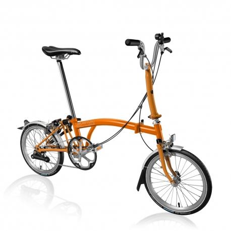 Brompton M2L Orange folding bicycle with Marathon tyres