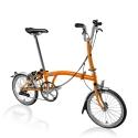 Brompton 2016 M2L Orange folding bicycle with Marathon tyres