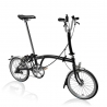 Brompton M3R Black with front carrier block and Eazy Wheels