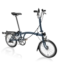 Brompton M3R Tempest Blue with front carrier block and Eazy Wheels