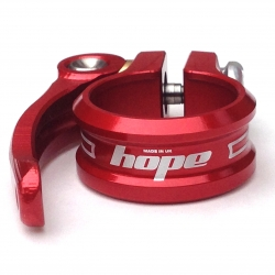 Hope 31.8mm red quick release seat post clamp - showing Hope logo