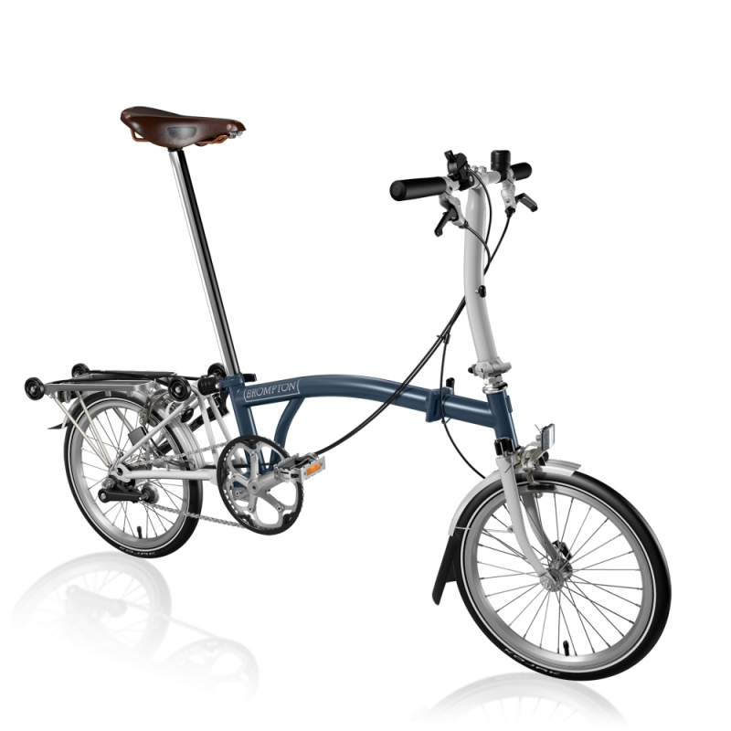 Brompton Bike Tempest Blue White S3r With Brooks Saddle