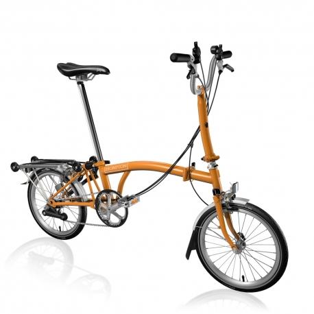 Brompton M6R Orange folding bicycle with reduced gearing