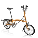 Brompton 2016 M6R Orange folding bicycle with reduced gearing