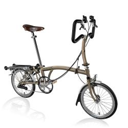 Brompton P6R Raw Laquer folding bicycle with Brooks saddle
