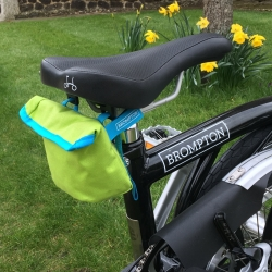 Brompton saddle pouch - Lime Green / Lagoon Blue
