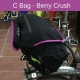 Brompton C bag set - Black with Berry Crush trim - showing integrated rain cover