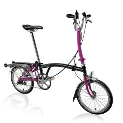 Brompton H3R Black / Berry Crush folding bicycle