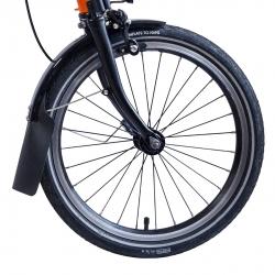"Brompton BLACK 16 x 1 3/8"" double wall straight drilled wheel rim, 28 hole"