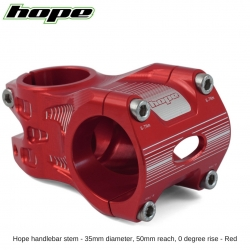Hope A/M Stem 0 degree 50mm 35mm diameter - Red