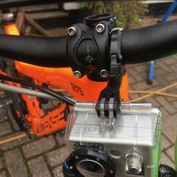 K-Edge Go-Big Pro handlebar camera or light mount - Black - 31.8mm - on bike with GoPro
