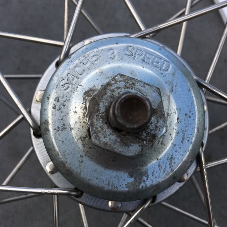 Brompton SACHS/SRAM rear wheel showing brand name