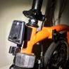 Brompton front carrier / luggage block mount - on an orange colour Brompton folding bike
