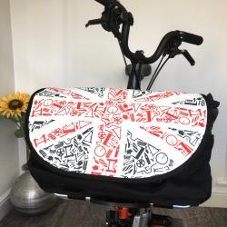 Brompton S bag - Union Jack - on bike