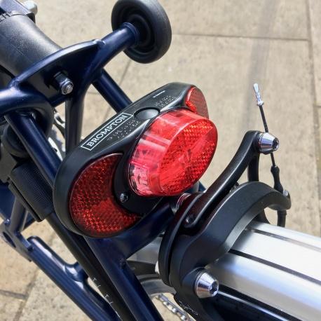 Brompton battery powered LED rear light - on bike