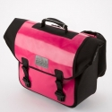 Brompton pre-2016 Ortlieb O bag, Pink and Black, complete with frame and strap
