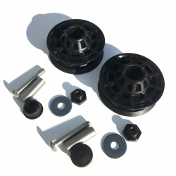 Brompton derailleur chain tensioner idler (jockey wheel) bearings / fixings set - pair - showing kit contents