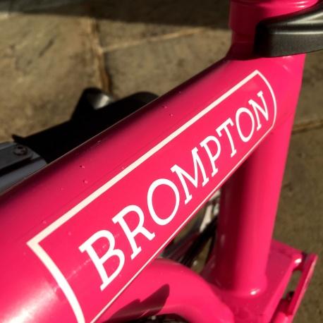 Brompton decal - White - on 2019 Hot Pink Brompton