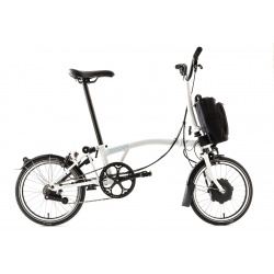 Brompton Electric folding bike - White Gloss - unfolded - stock image