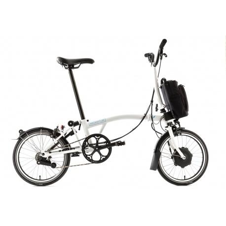 Brompton Electric folding bike - White Gloss - unfolded - stock image