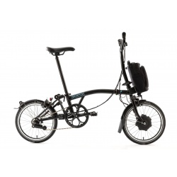 Brompton Electric M6L folding bike - Black - unfolded - stock photo