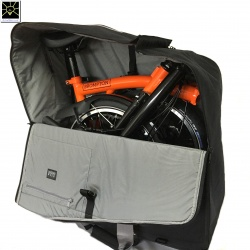 Brompton travel bag - the NEW bag for carrying your Brompton - showing the 2019 Orange BLACK edition inside