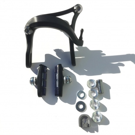 Brompton brake caliper with Swiss Stop pads - black - for Brompton Electric