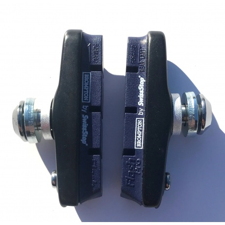 Brompton 2020 brake pads and holders showing wear indicator and direction arrow