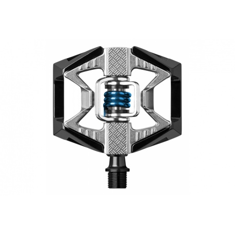 crankbrothers double shot 2 MTB pedals - black/silver - clip in side - stock photo