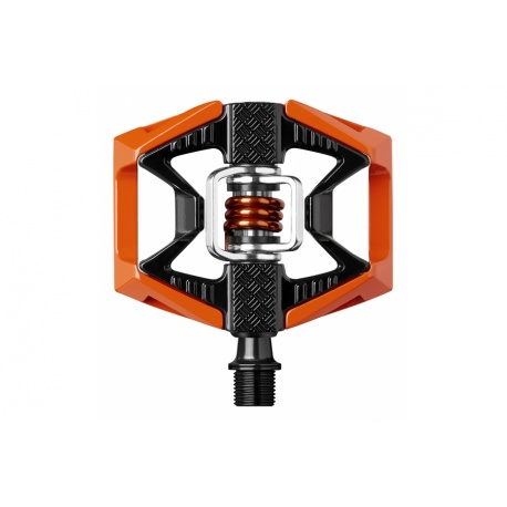 crankbrothers double shot 2 MTB pedals - black/orange - clip in side - stock photo